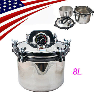 8l High Pressure Autoclave Steam Sterilizer Medical Dental Tattoo Sterilization