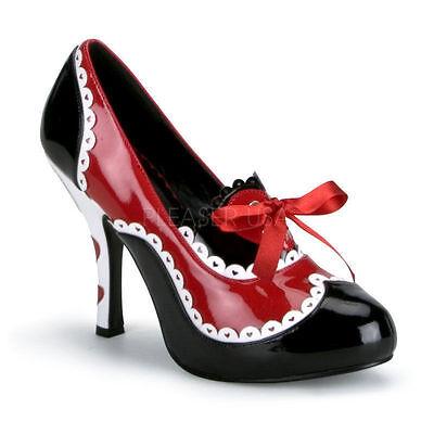 Queen-03 royale High Heels Pumps schwarz rot weiß mit Herzen Schleife Gr 36-43 Herz High Heels