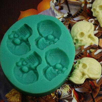 Skull Head Silicone Fondant Cake Mould Sugar Chocolate Mold Halloween Party](Halloween Chocolate Cake)