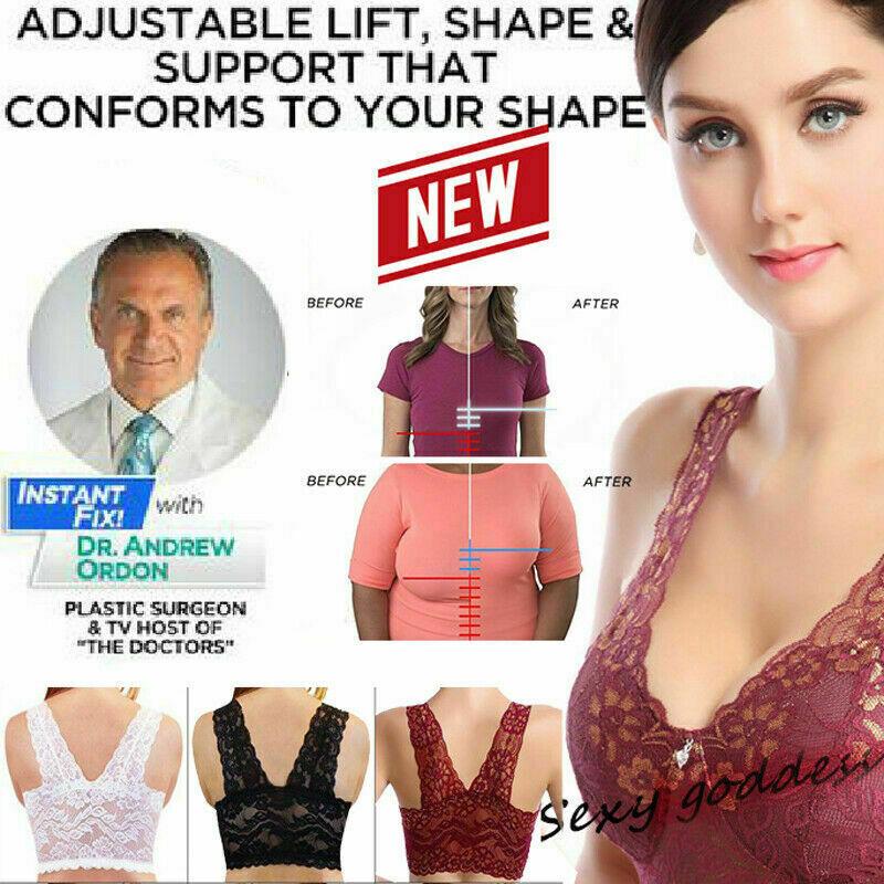 Women Plus Size Front Bra Underwear Floral Lace Print Wireless Lin Nice Com M8B0