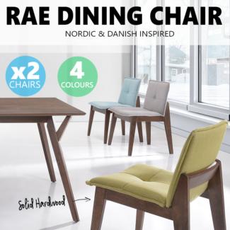2 X RAE Solid Wood Dining Chair Scandinavian Designer