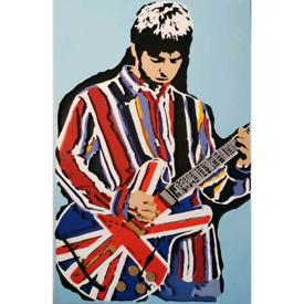 Noel Gallagher Union Jack Guitar Scroll Saw Art