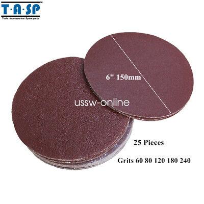 25pc Sanding Disk For Sander Grits 80 120 180 240 6 150mm Peel Stick Sandpaper