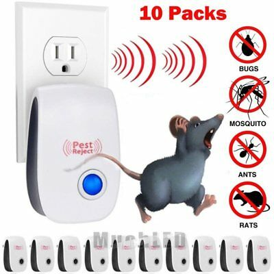 10X 2019 ELECTRONIC ULTRASONIC PEST REPELLER CONTROL RAT COCKROACH ANT FLY FLEA