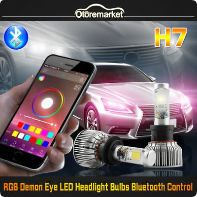 H7 RGBW Demon Eye LED Headlight Bulb Conversion Kit High Low Beam Fog Lamp 6000K