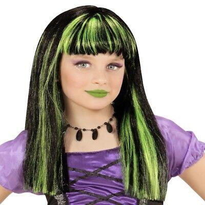Kinder Gothic Perücke Hexe schwarz mit grünfarbene Strähnchen - Hexe Kind Schwarze Perücke