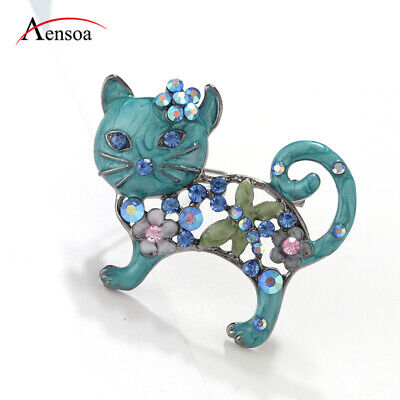 Trendy Women Animal Pins Blue Enamel Crystal Rhinestone Cat Brooches Pin Jewelry