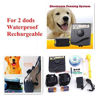Underground Electric Dog Fence 2 Shock Collars Waterproof Hidden System safe
