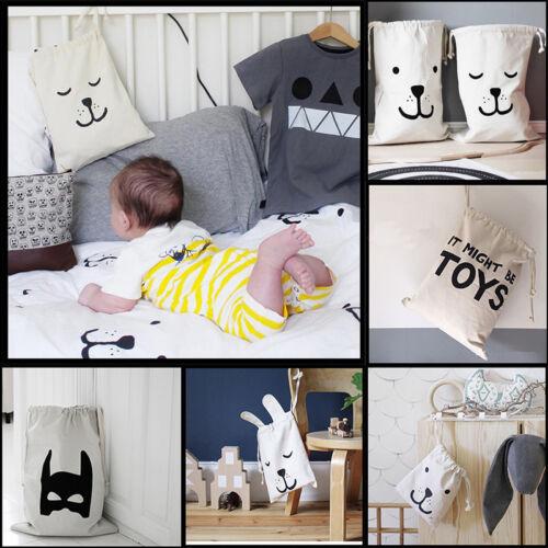 Cartoon Baby Kid Toys Storage Canvas Bags Bear Laundry Baske