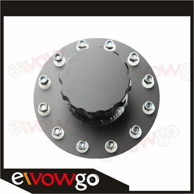 Aluminum Billet Fuel Cell Fill Filler Neck 12 Bolt Flange Black