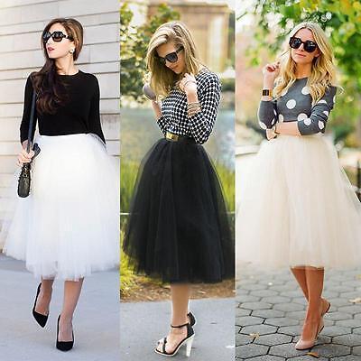 Women 5 Layers Tutu Skirt Princess Fairy Party Dress Tulle Ballet Fancy -