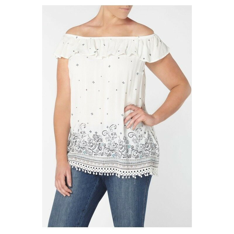 New Ex Evans Ivory Bardot Cold Shoulder Casual Summer Blouse Top Size 16-28