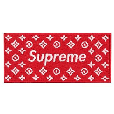 Red Supreme LV Box Logo DIY Iron On Embroidered Applique Patch