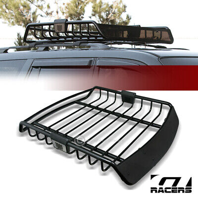 Universal Blk Roof Rack Cage Basket Travel Luggage Holder Top Tray W/Fairing G09