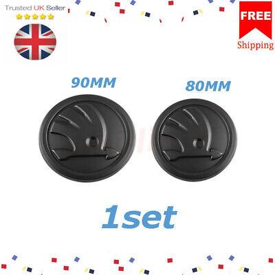 2x For SKODA Black Grille & Boot Badge Emblem 90mm&80mm Front& Rear 5JD853621A