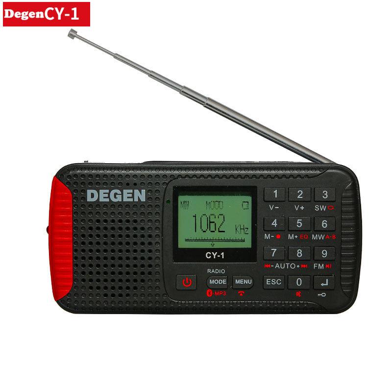 DEGEN DE CY-1 FM-Stereo/MW/SW Bluetooth/MP3/Recorder Crank S