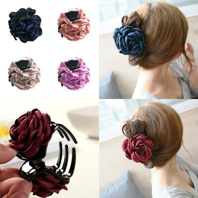 1PC Cloth Rose Flower Hair Claw Clip Barrette Jaw Clamp Women Hair Accessories (Hair Flower Clips)