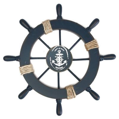 "11"" Nautical Wooden Ship Steering Wheel Wood Fishing Wall Boat Bar Party Decor"