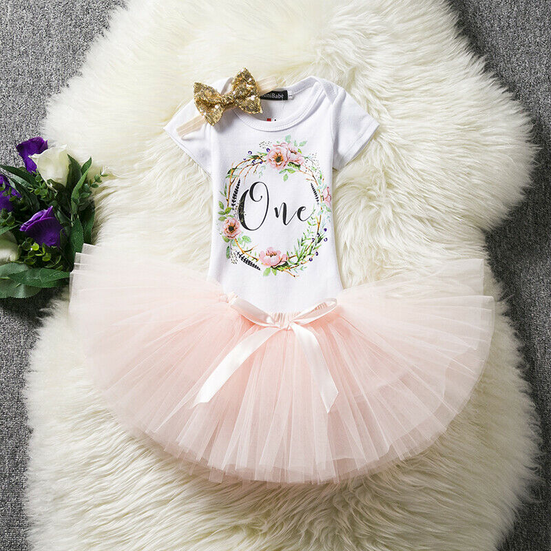 Baby Girl First 1st Birthday Outfits Sets Tutu Dress Summer Flower Girl Clothes