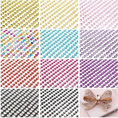 ( 750 pc Self Adhesive Rhinestones Stickers 3mm Crystal Stickers Gems Sheet )