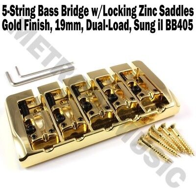 5-String Bass Bridge Gold w/Locking Zinc Saddles Dual Load 19mm Sung-il BB405