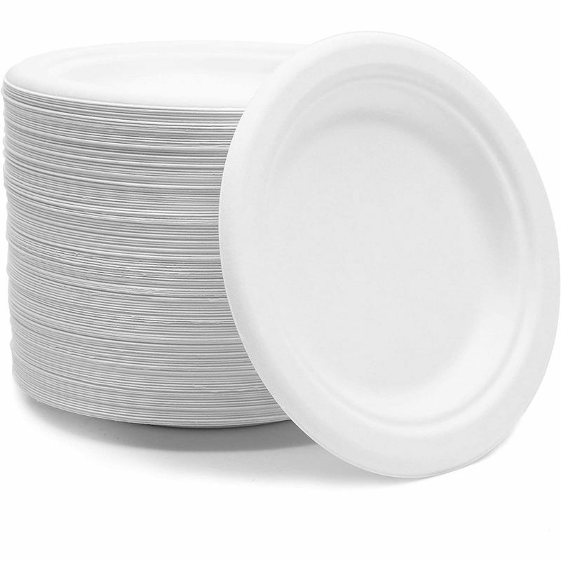 Small White Sugarcane Bagasse Plates, Round Dessert Plates (6 In, 125 Pack)