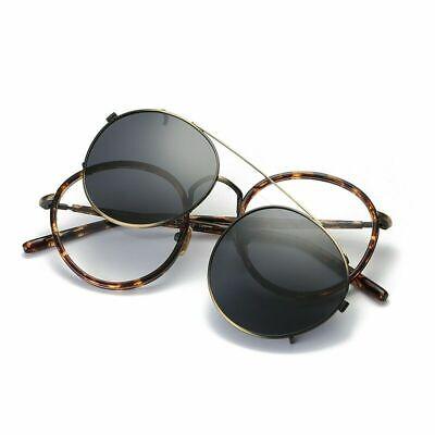 Polarisierte Sonnenbrille Clip-on Vintage Brillenrahmen Fahren Runde UV Rx