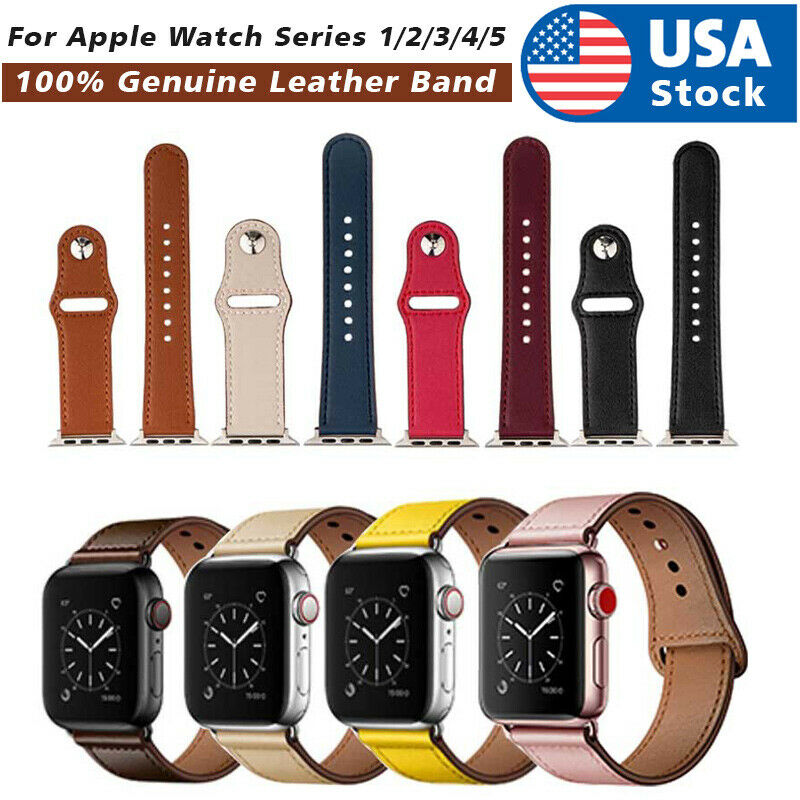 40/44mm Genuine Leather Apple Watch Band Strap for iWatch Series 5 4 3 2 38/42mm Jewelry & Watches