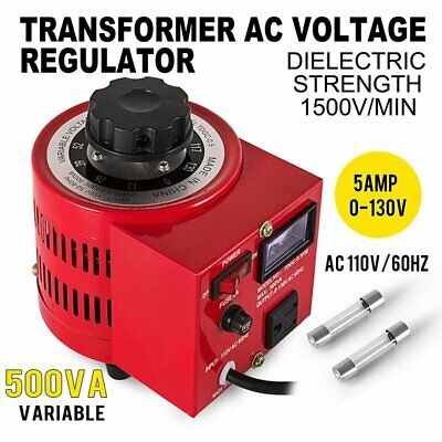 Variac Transformer Variable Ac Voltage Regulator 500w 5amp Copper Coil 0130v