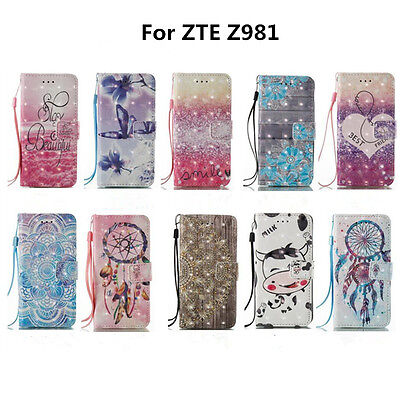Best Used For ZTE Z981 3D Painted Leather Wallet Phone Case Protector