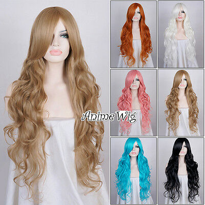 Fashion Black/Blonde/Blue/Pink Long 85CM Curly Lolita Lady Wig + Wig Cap Cosplay