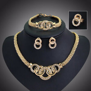 Gold Plated Necklace Earring Bracelet Ring Jewelry Set.