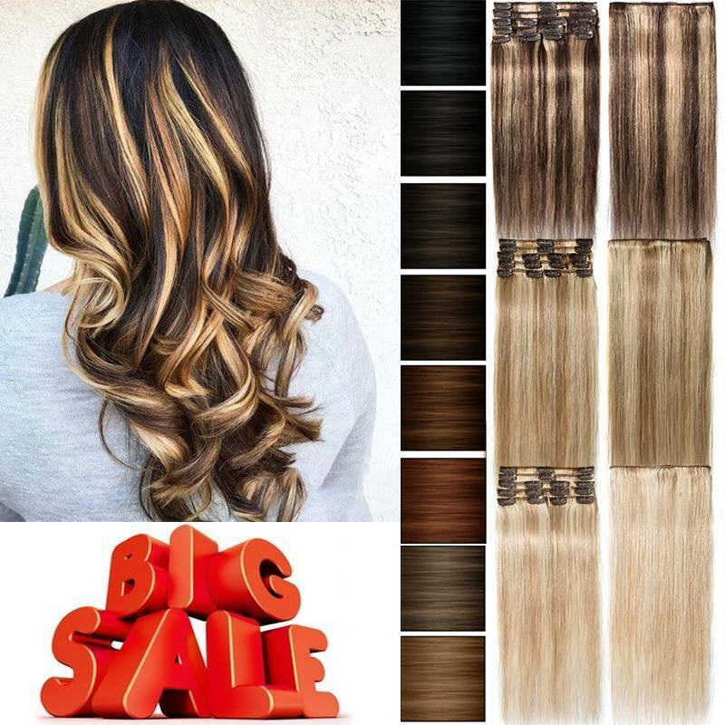 Big Sale 8Pieces Clip In Hair Extensions 100% Real Remy Huma