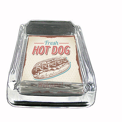 "Vintage Hot Dog Sign Glass Ashtray D3 4""x3"" Retro Old Fashioned Food BBQ"