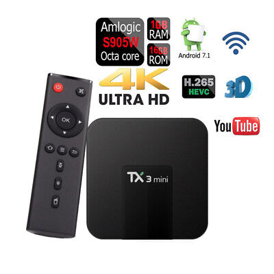 Used, TX3 Mini Quad-Core 16GB Android 7.1 Wifi Amlogic S905W Google Play DDR3 TV Box for sale  Shipping to India