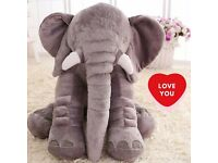 HUGE PLUSH ELEPHANT TOY TEDDY VERY SOFT STUFFED ANIMAL PILLOW SOFA THROW CUSHION CUDDLY SNUGGLY NEW