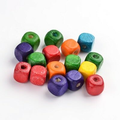 50 Wooden Assorted Colour Cube Beads. 10mm. Ideal for Jewellery making,