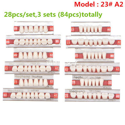 84pc Dental Denture Synthetic Resin Teeth False Teeth Upper Lower Shade 23 A2