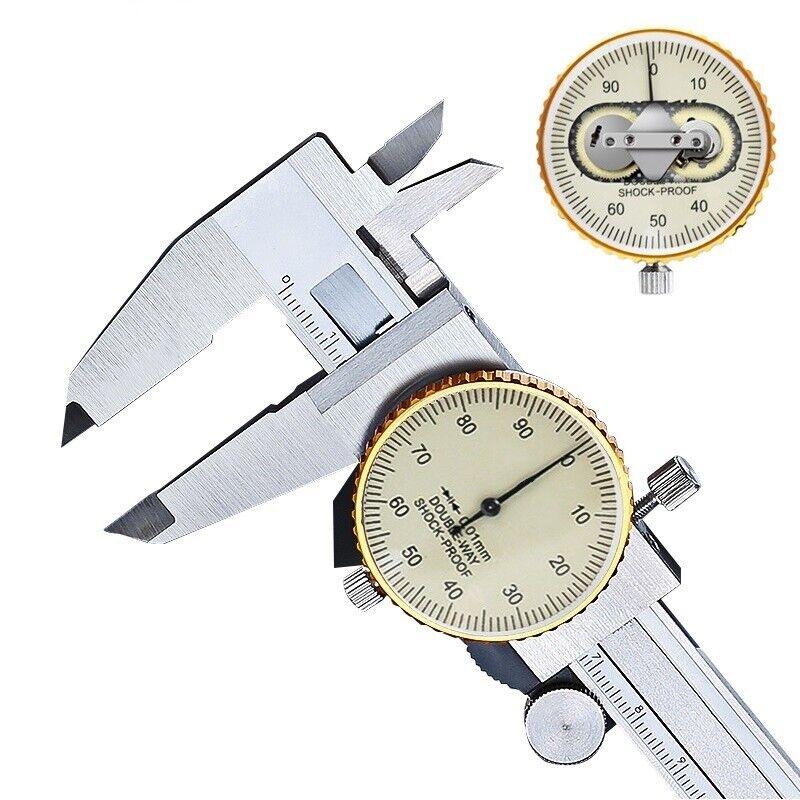 Dial de metal forma doble a prueba de golpes calibrador Vernier calibrador de acero inoxidable 0.01mm
