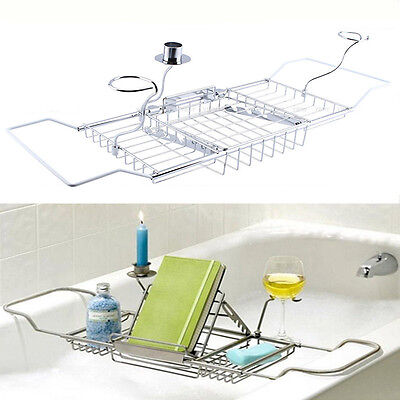 Spa Tray - Metal  Bath Tub Caddy Spa Tray Reading Book Stand Wine Glass Candle Holder Rack