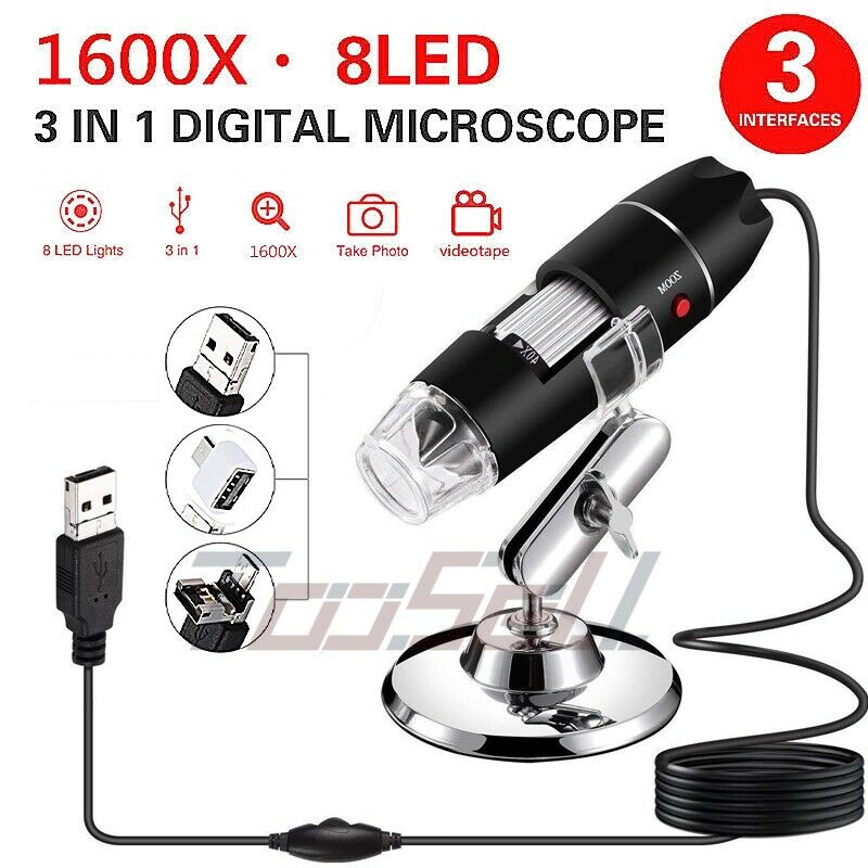1600X Magnifier 8LED USB Digital Microscope Camera for PC Laptop Android Phone