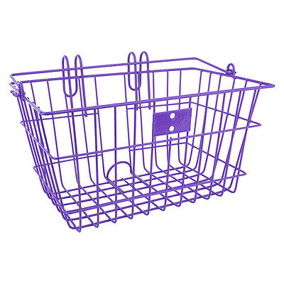 Sunlite Lift Off Bicycle Basket-14.5x8.5x7 inches-quick liftoff hooks-Purple
