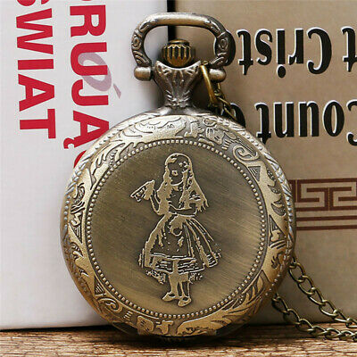 Chic Style Alice In Wonderland Girl Pattern Pocket Watch Men Women Gift Pendant