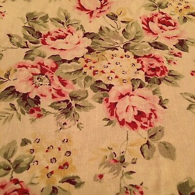 Rachel Ashwell Shabby Chic Fabric Retired Cluster Butter Pink Rose Floral 1 Yd for sale  Mobile