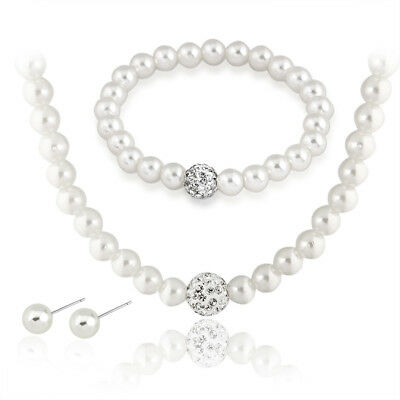 925 Sterling Silver 5.5-6mm Freshwater Pearl Necklace Bracelet Earrings Set