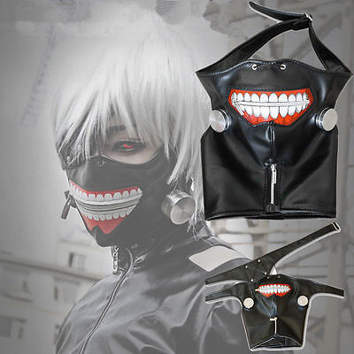 Hot Halloween Cosplay Tokyo Ghoul Kaneki Ken Zipper Belt Mask Wig Eye patch