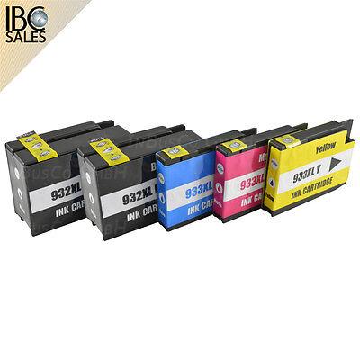 Format Tinte Gelb (5x Nicht-OEM Tinte kompatible für HP OfficeJet 7110 Wide Format 932-933 INB 12)