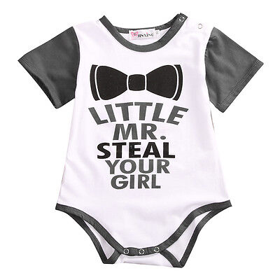 Newborn Baby Boy Letter Print Romper Bodysuit Funny Clothes Outfits Sunsuit](Funny Outfits)