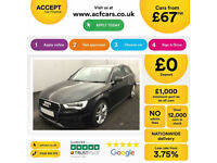 Black AUDI A3 SALOON 1.6 1.8 2.0 TDI Diesel SPORT S LINE FROM £67 PER WEEK!