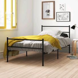 Black steel bed frame